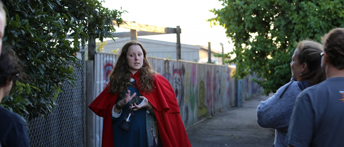 graffiti, laneway, drama, red cape,