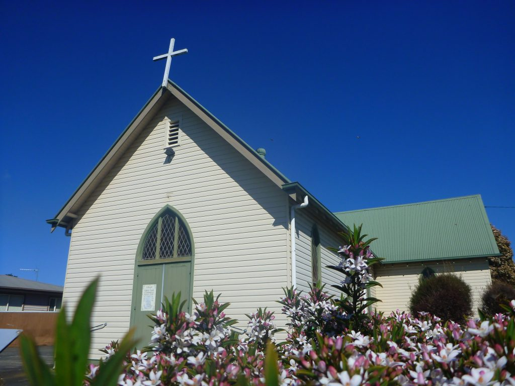 catholic church, small town church, green roof