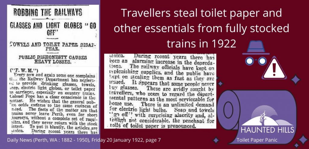 Travellers steal toilet paper while journeying on Perth's railways in 1922 Haunted Hills Podcast Toilet Paper Panic